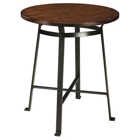 Challiman Round Dining Room Counter Table Wood/Rustic Brown - Signature Design by Ashley : Target