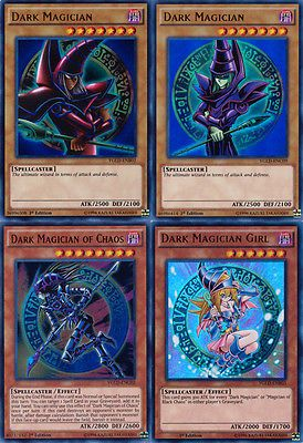 Set of 4 YuGiOh YGLD Dark Magician cards Dark Magician Girl Ultra Rare MINT!!