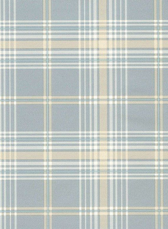 Blue Tan And White Plaid Wallpaper Kv27420 Sold By The