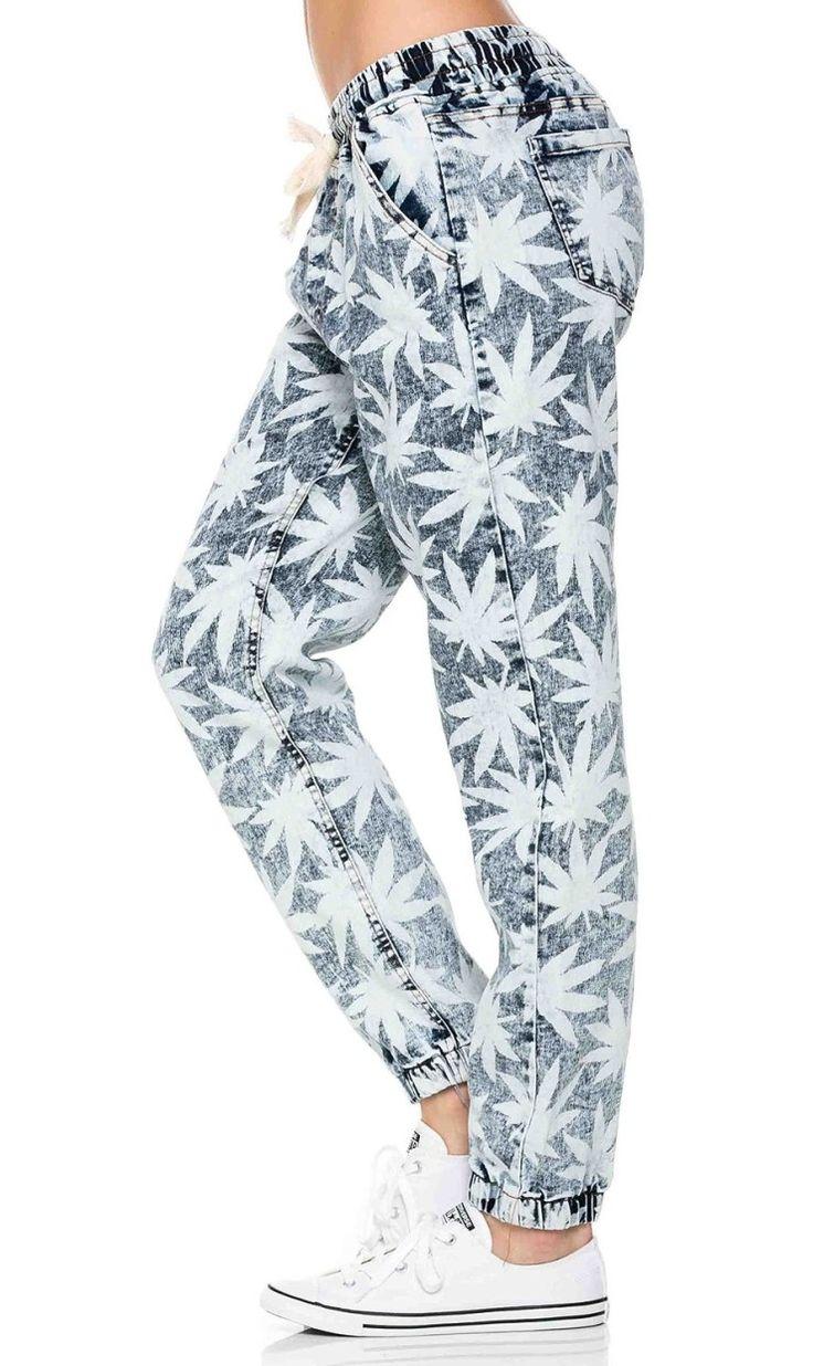 Weed Print Denim Jogger Pants