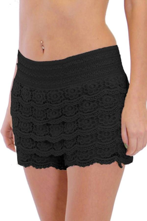 Wear Black Crochet Shorts On Your Night Out - Fashion Outlet NYC