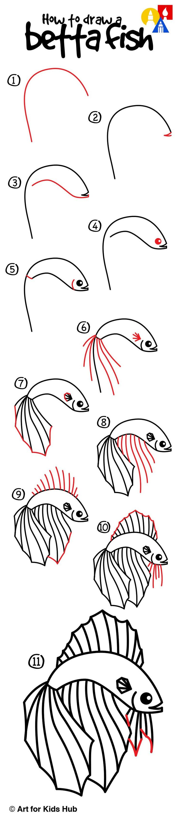 How To Draw A Betta Fish - Art for Kids Hub