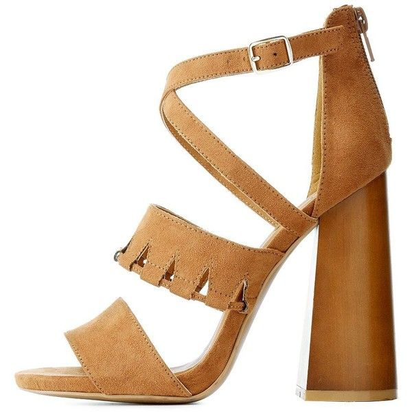 Qupid Cut-Out Chunky Heel Sandals ($24) ❤ liked on Polyvore featuring shoes, sandals, heels, camel, strappy heel sandals, thick heel sandals, block heel sandals, elastic-strap sandals and block-heel sandals