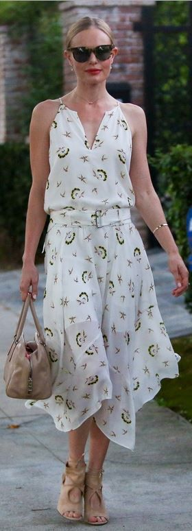 Who made  Kate Bosworth's nude suede sandals and white print dress?