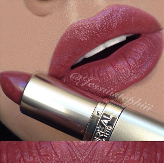 """In love with this color! ✨LIPSWATCH✨ Love this color for a neutral Fall lip!   L'Oreal """"Spiced Cider"""" Lipstick •no lipliner"""