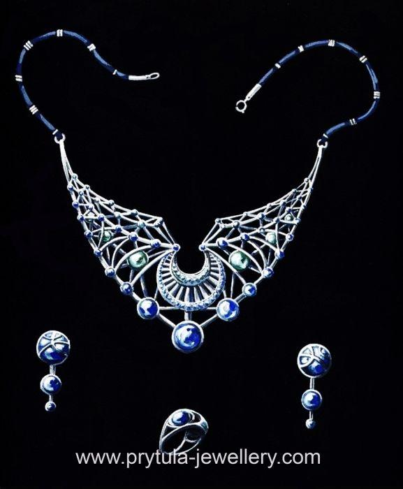 """Ювелирный женский набор """"Паутина Шарлотты"""": Колье, серьги, перстень"""