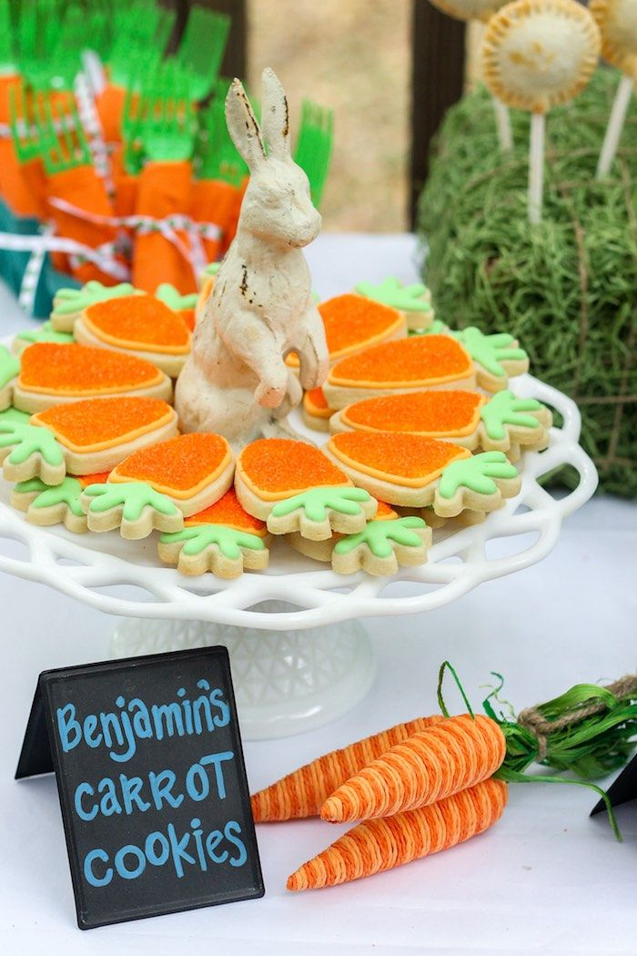Carrot Shaped Cookies from a Peter Rabbit Birthday Party via Kara's Party Ideas | KarasPartyIdeas.com | The Place for All Things Party! (15)