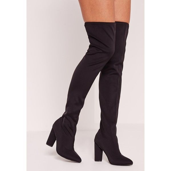 Missguided Neoprene Over The Knee Sock Boot (52.225 CRC) ❤ liked on Polyvore featuring shoes, boots, black, black over-the-knee boots, black high heel boots, neoprene boots, over knee boots and above-knee boots