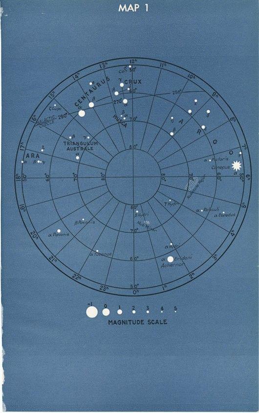 Vintage Astronomy Star Constellation Map