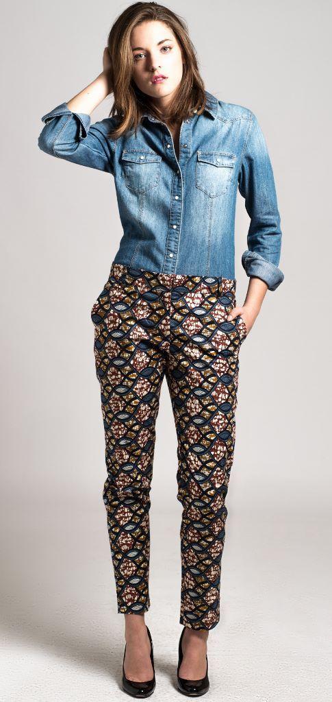 pantalon cigarette en wax Africain n°3 : Pantalons, jeans, shorts par openya-couture