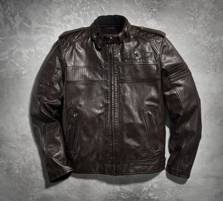 From highway to stop sign, the military-inspired leather Jacket commands onlookers' attention. Burnished cowhide leather delivers worn, vintage appeal. | Harley-Davidson Men's Rider Leather Jacket