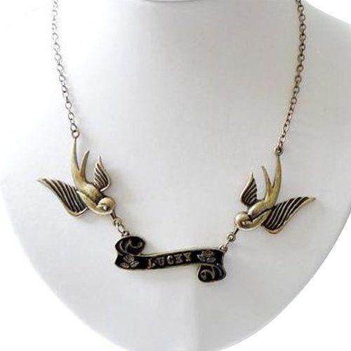 SODIAL (R) Rondine tatuaggio lucky uccelli in ottone antico