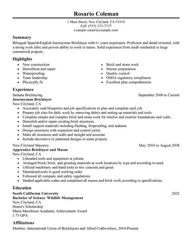 Resume Tips And Examples Sample Resume For Construction Worker Resume Objective Tips Examples Cv Te Resume Examples Job Resume Examples Resume Writing Examples