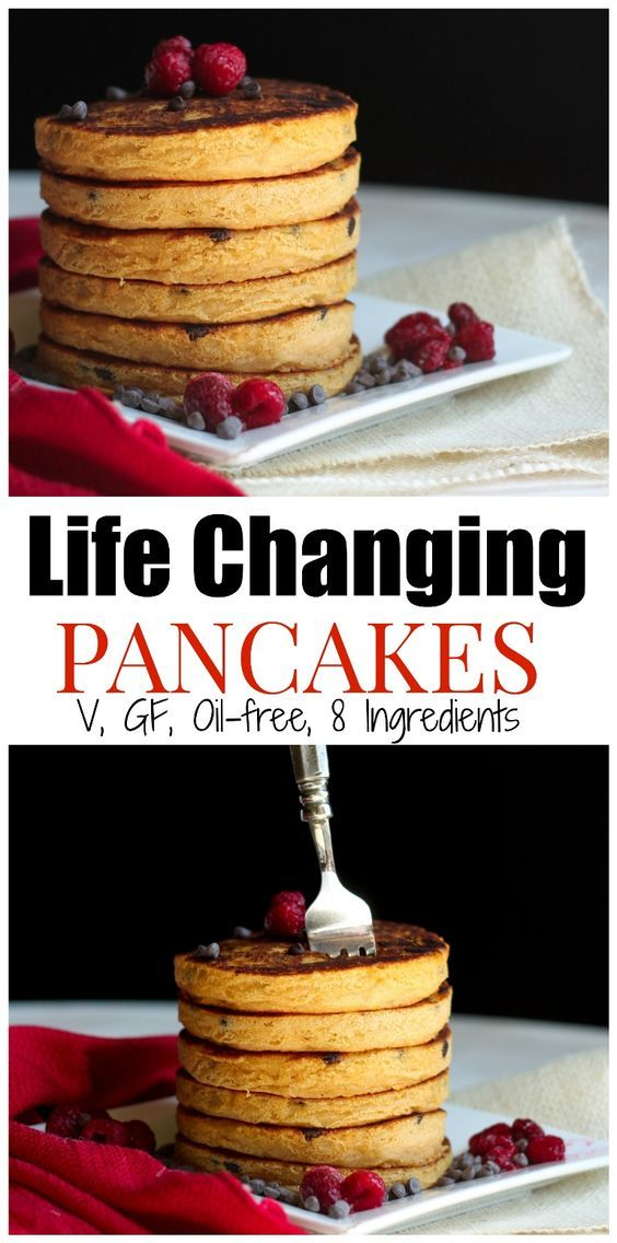 Life Changing Pancakes. These are the BEST FLUFFIEST Vegan, Gluten-free, Oil-free, Grain-free....heck, pancakes I've ever had. NO MORE dense, mushy GF pancakes! All just 8 ingredients | http://THEVEGAN8.COM #vegan #pancakes #breakfast #glutenfree #oilfree #thevegan8 #sweetpotato