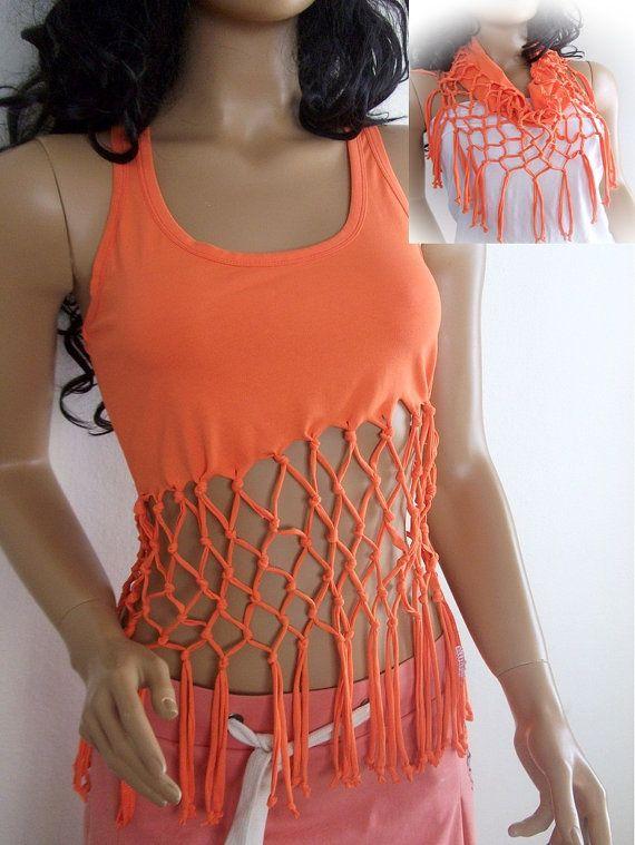 orange shredded sleeveless tshirt or scarf by zuustextile on etsy 2200 - T Shirt Design Ideas Cutting