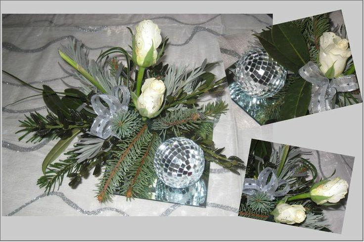 Arrangement de table noel argent et blanc esteltouch for Pinterest table de noel