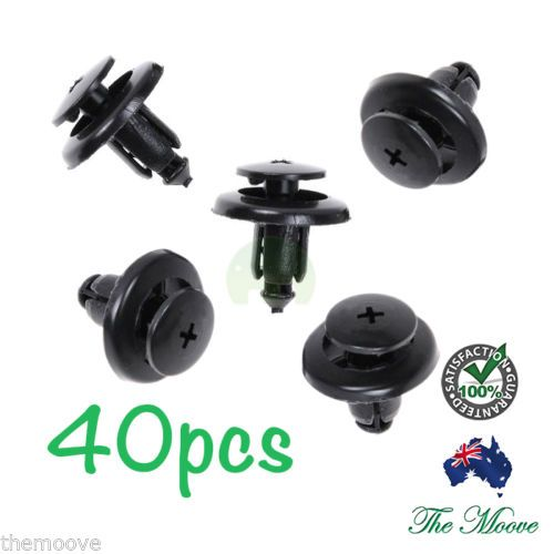 40x-8mm-Hole-Black-Plastic-Rivet-Interior-Trim-Panel-car-door-Retainer-Clips-AU