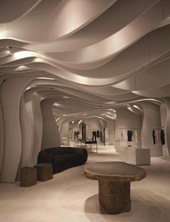 Contemporary curvaceous ceiling in mititique boutique for Boutiques interior designs ideas