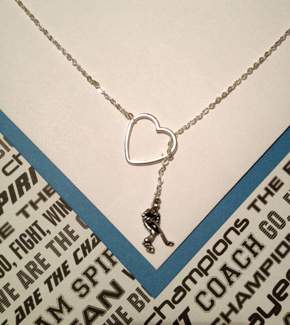 Hockey charm and heart, silver, lariat necklace, handmade jewelry