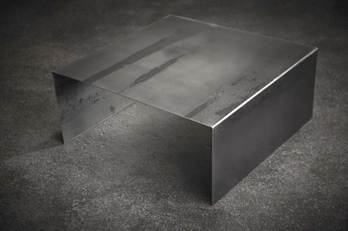 """2 MODERN - Raw Steel Square Coffee Table by John Beck Steel - 40""""SQ x 14""""H - $1,100"""