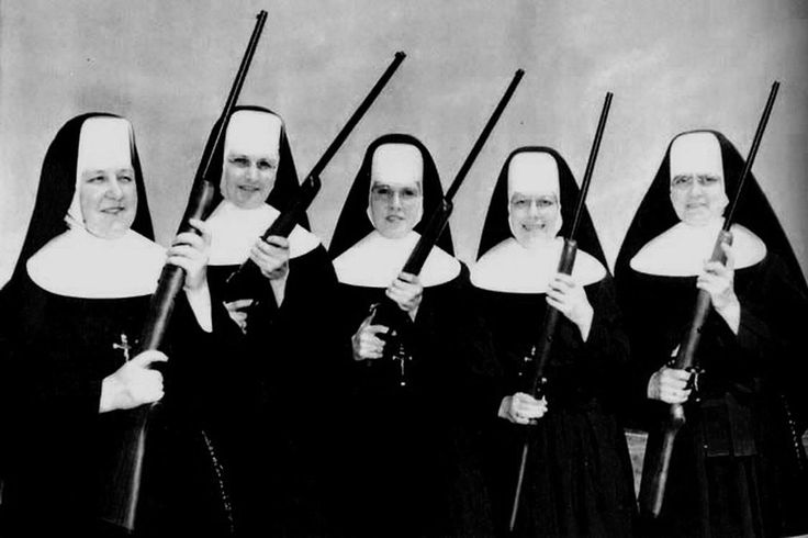 """""""The Vatican Womens Rifle Team"""" (The nuns with guns were disbanded in February 1938 because Pope Pius XI didnt think the existence of the rifle team would advance the pious image of the Catholic Church) / Italy - Rome Vatican 1937 [1125 x 750]"""