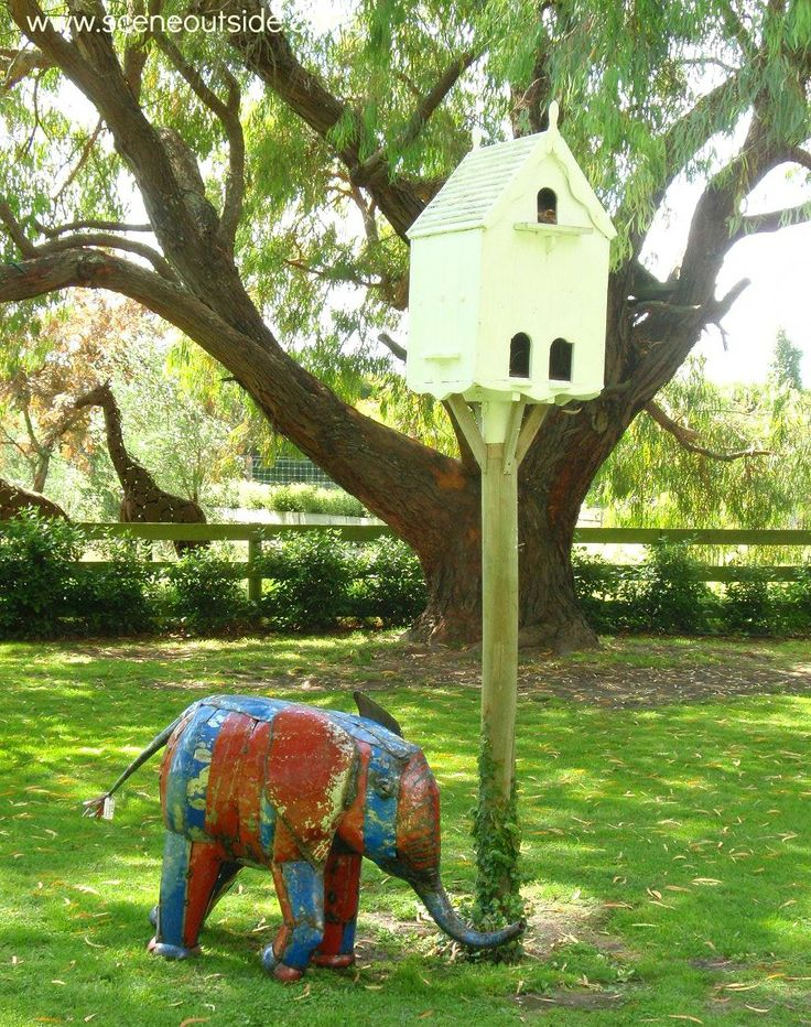 Birdhouse and elephant at Birdwoods Gallery, Havelock North, NZ. Notice the giraffe in the background?