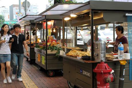 I miss Portland! NO sit down dinners, just cheap Gourmet food carts everywhere, and homeless people.