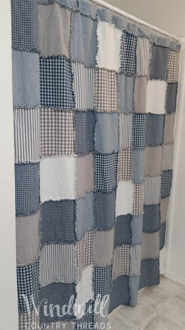Patchwork Shower Curtain In Cool Blues And Grays Farmhouse