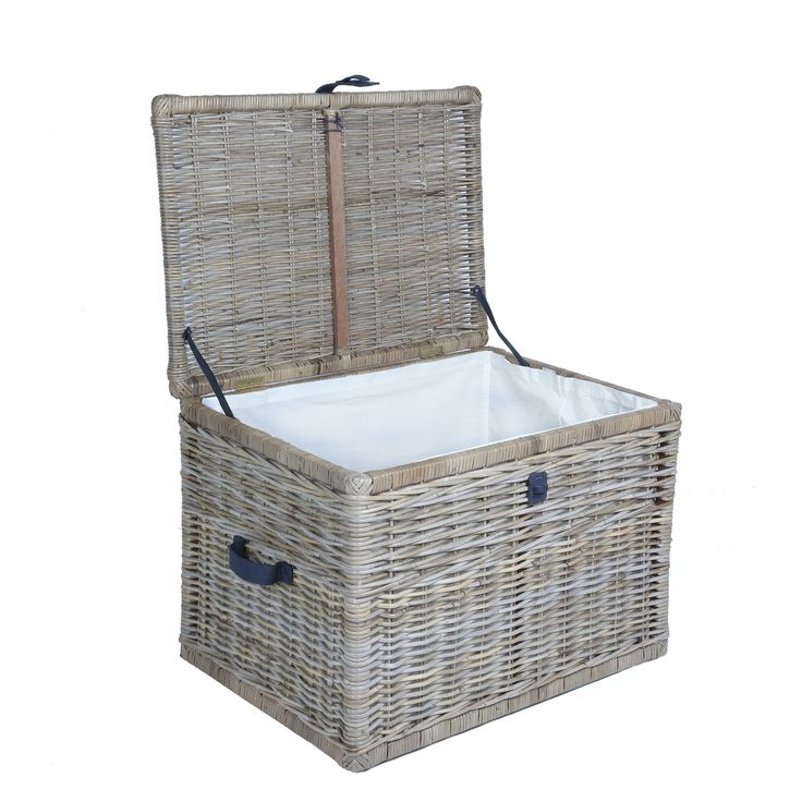 Deep Kubu Wicker Storage Trunk with lid open, large in Serene Grey | The Basket Lady