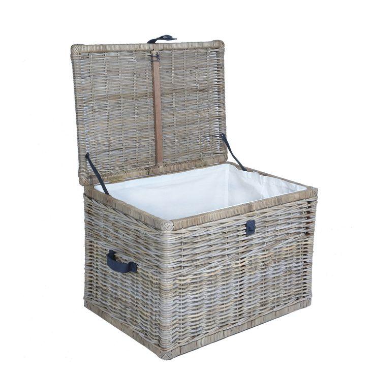 Deep Kubu Wicker Storage Trunk with lid open, large in Serene Grey | The Basket Lady