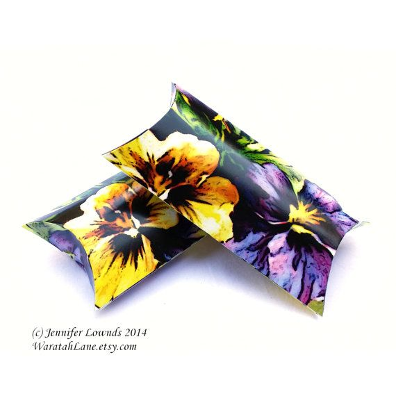 Printable Pillow Box INSTANT DOWNLOAD digital file by WaratahLane Happy Pansies in yellow and purple Pansy flower floral DIY wedding bridal shower tea gift packaging favour boxes bonbonniere perfect for wedding favors happy colors colours spring summer style