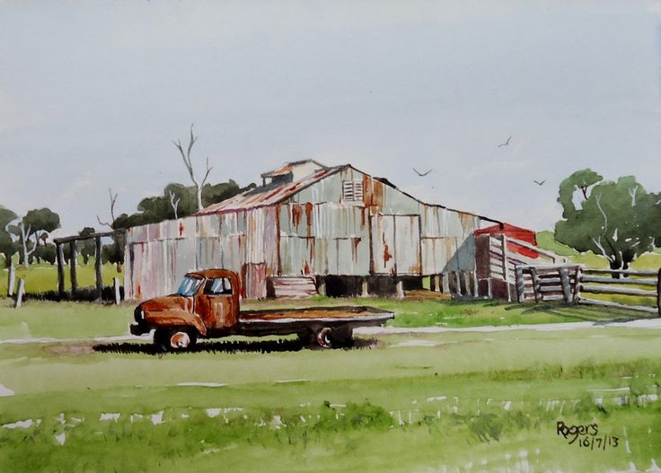 A watercolour I completed depicting an old truck outside the shearing shed.