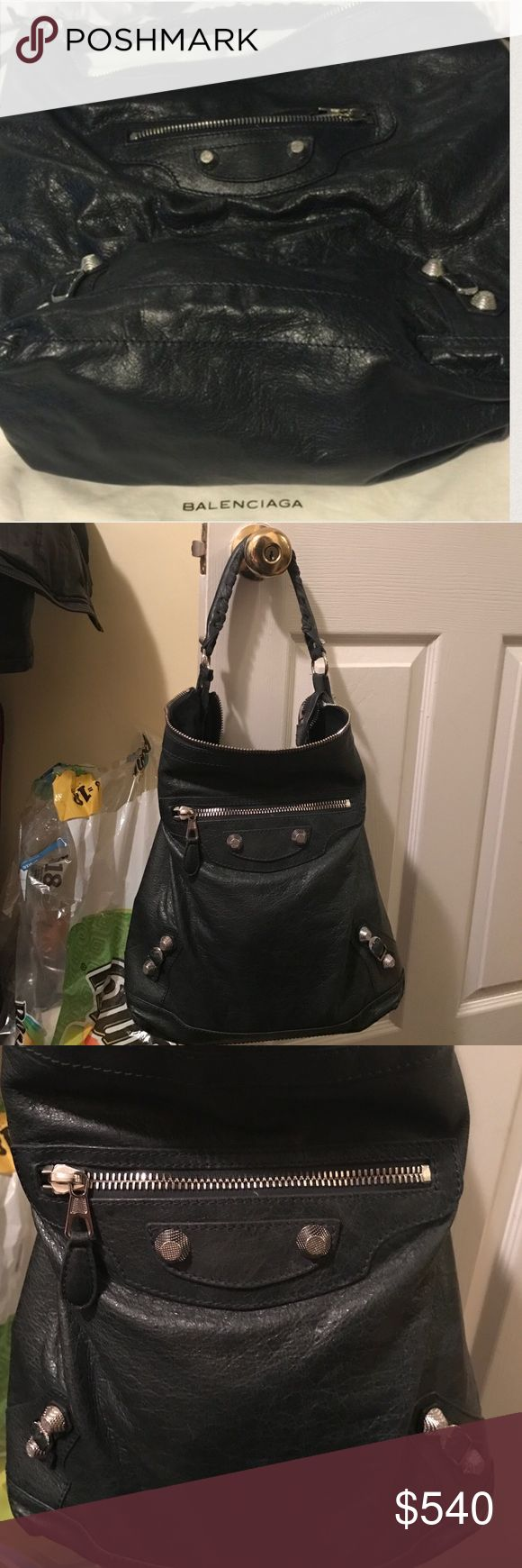 Balenciaga Day Hobo - anthracite w/ Giant Hardware This is a 100% authentic Balenciaga day bag in anthracite grey with giant hardware. This bag retails for $1595, is in good condition With  no STAINS to leather or damage to hardware. Used only for 3 months worth of time since new. Truly in good shape! Leather is soooo soft and slouchy and hardware is silver to compliment the grey leather. This is a Great bag. Shows very minor signs of wear. Comes with dust bag. Bag is 10000% authentic.  No…
