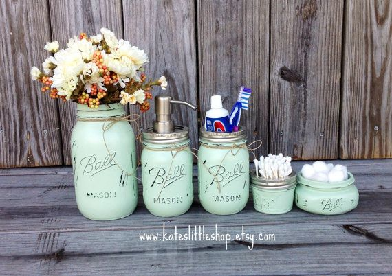 Mason Jar Bathroom Kit. Ball Mason Jars. Rustic Home Decor. Sea Foam Green. Green Farmhouse Bathroom Decor. Bathroom Soap Dispenser. Rustic.