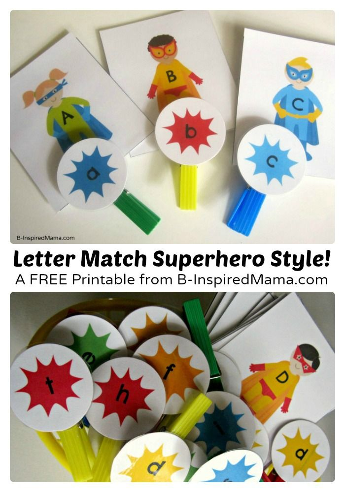 FREE Superhero uppercase/ lowercase letter match game, from B-Inspired Mama