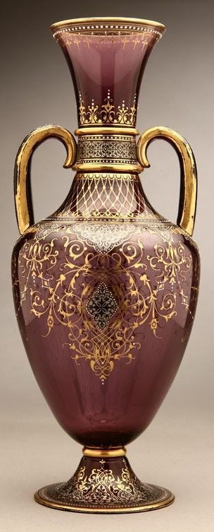 A J & L Lobmeyr 'Persian' style gilt and enameled amethyst glass vase