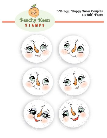 PK-1446 Happy Snow Couples 1 1/8 Faces: Peachy Keen Stamps | Home of the original clear, peach-tinted, high-quality whimsical face stamps.