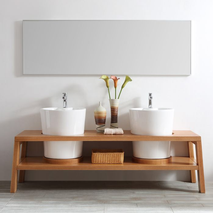 """Lecce 78"""" Double Vanity Set with Mirror"""
