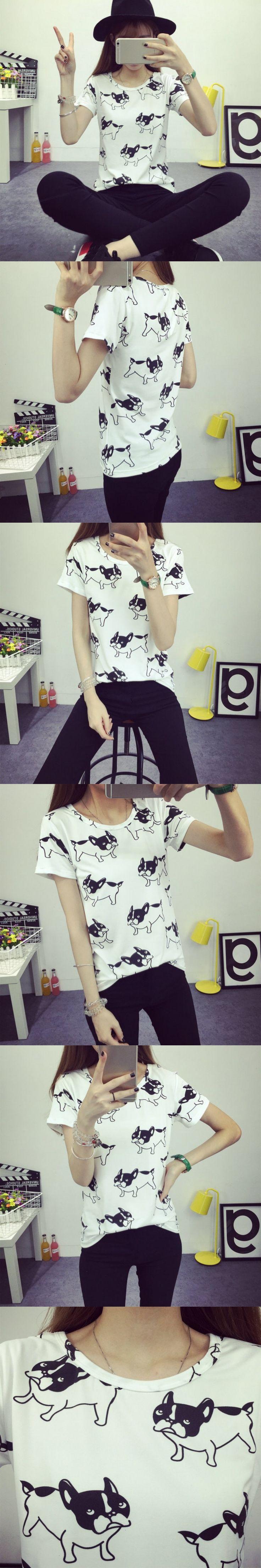 Summer New Fashion T-shirts Women Cute Dog Printed Tee Shirt Camisas Femininas 2016 Poleras De Mujer Femme Tshirt Tops  V2