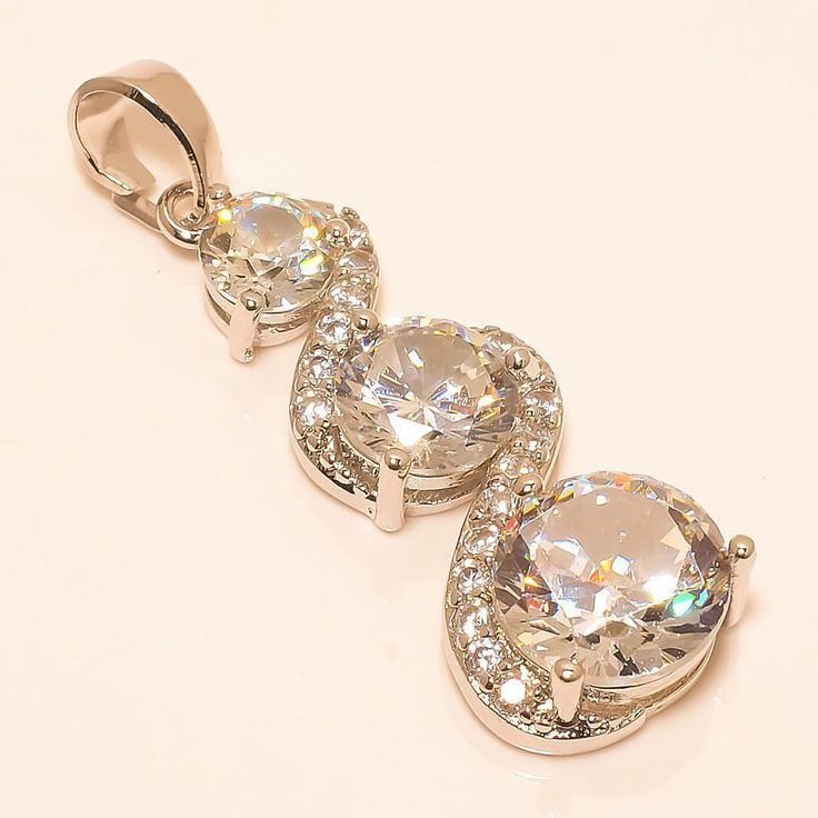 "WHITE TOPAZ 925 STERLING SILVER PENDANT 1.58"" in Jewellery & Watches, Fine Jewellery, Fine Necklaces & Pendants | eBay"