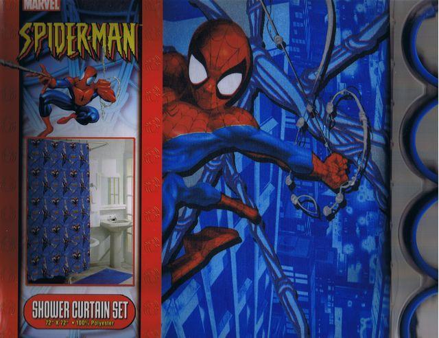 19 best superhero shower curtain images on pinterest for Spiderman bathroom ideas