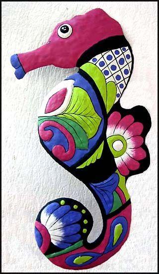 """Seahorse Design Magenta & Blue - Hand Painted Metal Garden Decor - 13"""" x 24"""" - tropicdecor.com"""