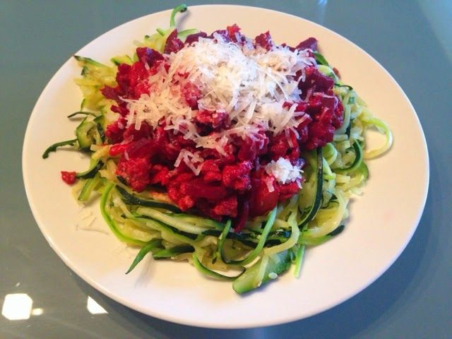 Barborka On The Run: Zoodles With Turkey Beet Root Bolognese