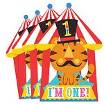 Circus 1st Birthday Invitation Cards 8pk Fisher Price 1st Birthday Invitations These playful party invitations feature a diecut striped circus tent