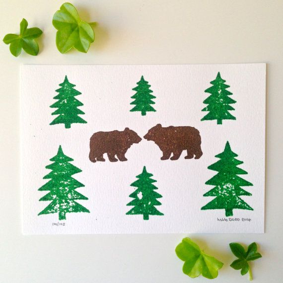 Two Bears Gocco Print Limited Edition Screenprint, Bears in the Woods, Scandinavian Art, Handprinted Nature Art from Etsy, by hello DODO shop £4.00
