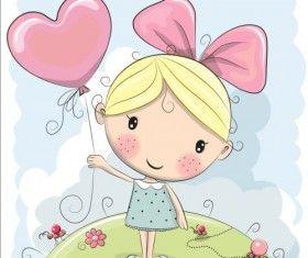 Cute cartoon girls design vector 02