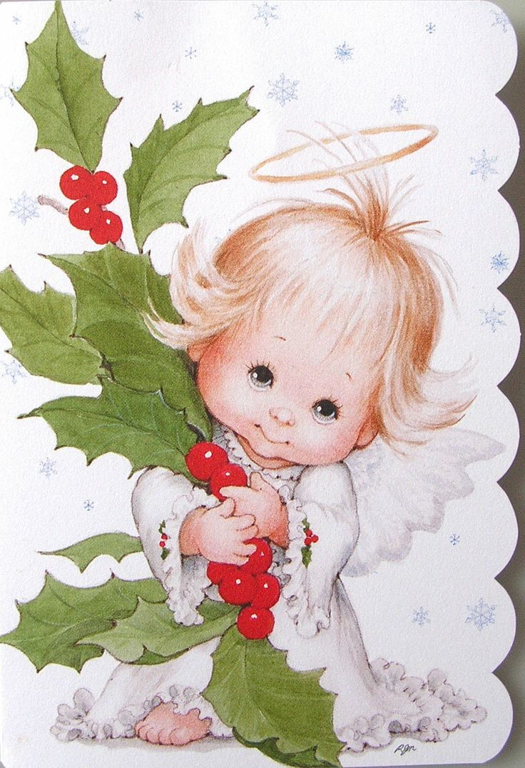 Morehead Baby Child Angel Halo Holly Berries Christmas Holiday Greeting Card New | eBay