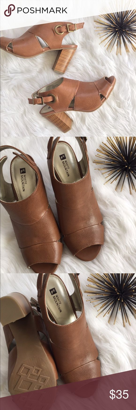 New White Mountain Stacked Heel Peep Toe Bootie These White Mountain Shoes are a size 8.5 and are new, never worn.  There is a small mark on the one shoe from storage, it will probably come off with a little TLC. white mountain Shoes Ankle Boots & Booties