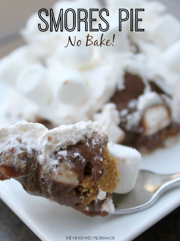 No Bake S'mores Pie - Easy Dessert Recipes- Chocolate, Marshmallows, Cool Whip, Graham Cracker #KraftEssentials #Cbias #Shop