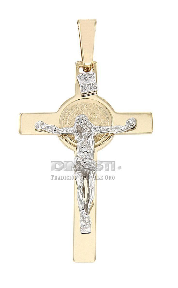 SKU CRSOR0010 CRISTO SAN BENITO COMBINADO CRUZ AMARILLA Y CRISTO BLANCO EN REALCE ventas@dinasti.com #ReligiousCharm #fashion #jewelry #Cristosdeoro #cristos #cruces #articulosreligiosos #dijesreligiosos